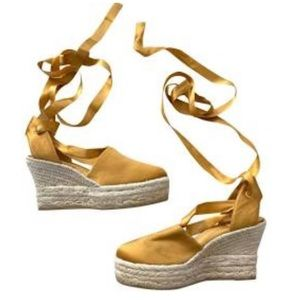 Tory Burch satin lace up espadrille wedges!